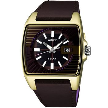 WIRED HYBRID 時尚皮帶腕錶(V145-X013Q)咖啡