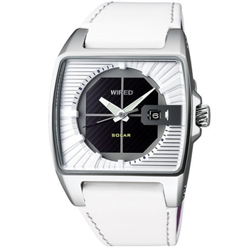WIRED HYBRID 時尚皮帶腕錶(V145-X013Z)-白