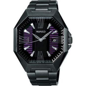 WIRED 宇宙探險腕錶-紫/IP黑 7N42-X007T