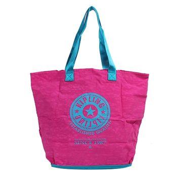 KIPLING 可收式購物袋土耳其綠/桃-網