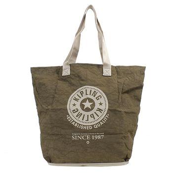 KIPLING 可收式購物袋米/綠-網