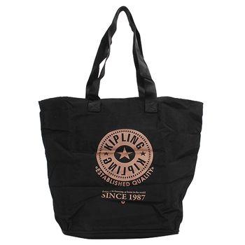 KIPLING 可收式購物袋黑/黑-網