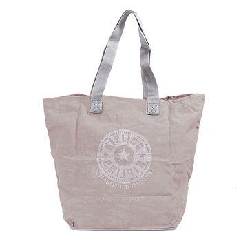 KIPLING 可收式購物袋灰/米灰-網