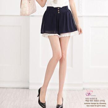 【I-Sweety中大碼】0398淑女雪紡蕾絲造型短褲(兩色)