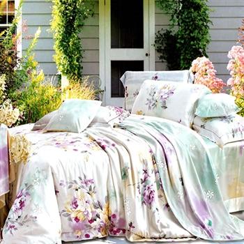 【KOSNEY】愜意美景加大100%天絲四件式兩用被床包組