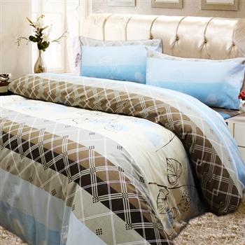 【KOSNEY】米蘭之戀頂級加大100%精梳棉床包被套組台灣製