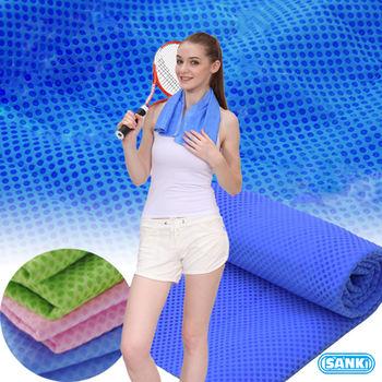 日本SANKI-冰涼毛巾2入粉紅色+綠色(95CmX20Cm)