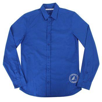 agnes b. SPORT b. logo長袖襯衫男/藍(38)