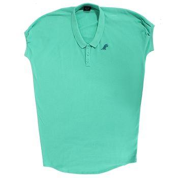 agnes b. 無肩線長版polo短T(2)綠/領口內藍