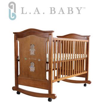 L.A. Baby 波特蘭大床嬰兒床/搖擺大床/木床(咖啡色)