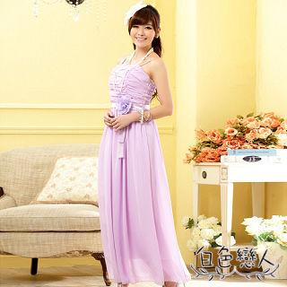 【白色戀人中大尺碼】紫色抓皺花朵長版雪紡晚禮服JK-0910
