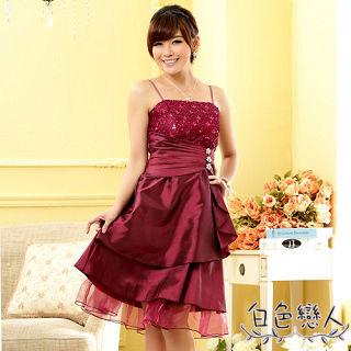 【白色戀人中大尺碼】紫紅色亮鑽飾扣平口小晚禮服JK-0710