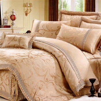 【KOSNEY】璀璨朝陽100%天絲蕾絲緹花雙人四件式兩用被床包組