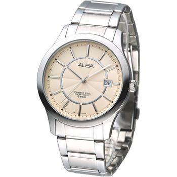 SEIKO ALBA 法式型男時尚腕錶(香檳金面)