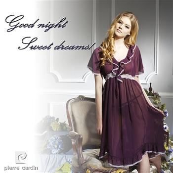 【皮爾卡登】深紫雪紡紗睡衣