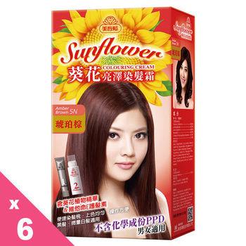 美吾髮 葵花亮澤染髮霜 (6入)-5N號琥珀棕