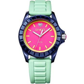 Juicy Couture馬卡龍晶鑽心腕錶-粉x綠J1901114