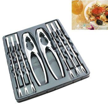 PUSH!餐具不銹鋼吃螃蟹工具蟹夾蟹具核桃夾8件套家庭餐廳適用