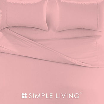 【SIMPLE LIVING】素色系列 粉紅特大三件式枕套+床包組