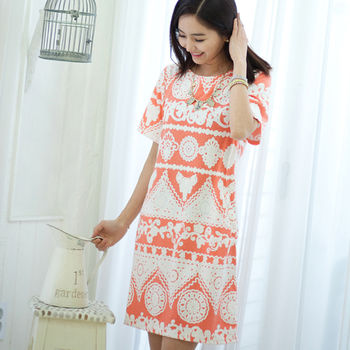 I-Seoul立體花布彈性韓系設計洋裝9177橘