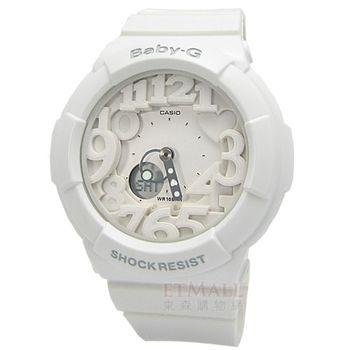 BABY-G繽紛霓虹雙顯腕錶‧純淨白‧BGA-131-7B