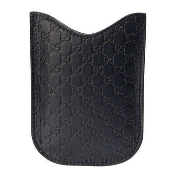 GUCCI GG壓紋牛皮黑莓機保護套(深藍)238687-4009
