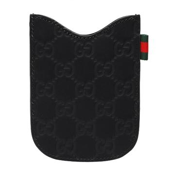 GUCCI GG壓紋牛皮黑莓機保護套(黑)238687-1060