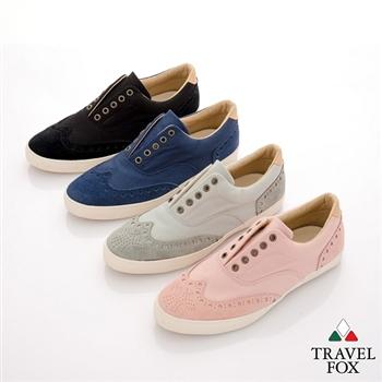 Travel Fox(男) 旅狐鞋 倫敦男孩雕花牛津無帶式休閒鞋