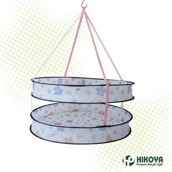 【HIKOYA】彩色印花雙層加高防掉落曬衣網(直徑60x80cm)