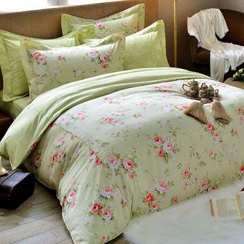 【義大利La Belle】綠溢芬芳 天絲雙人舖棉兩用被6x7尺