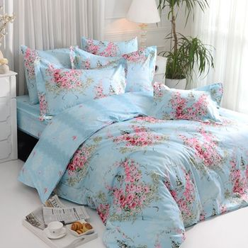 【義大利La Belle】薔薇戀曲 藍 天絲特大舖棉兩用被8x7尺