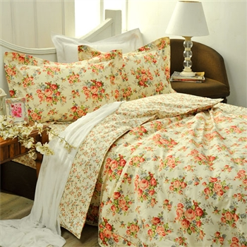 【義大利La Belle】馨香薔薇 天絲雙人舖棉兩用被6x7尺