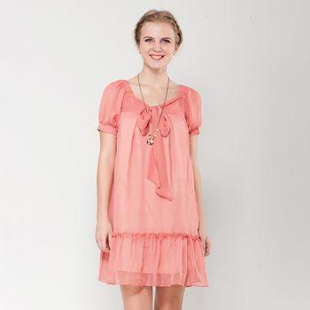 IFOREST 浪漫蝴蝶領結雪紡洋裝(珊瑚紅)12029