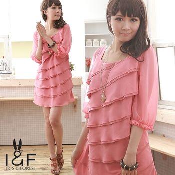 IFOREST暈染雪紡洋裝(珊瑚紅)20106T