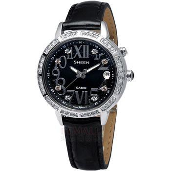 CASIO Sheen萊茵石霓虹腕錶-黑SHE-4031L-1A