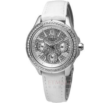 CASIO Sheen華麗皮革腕錶‧銀SHE-3504L-7A