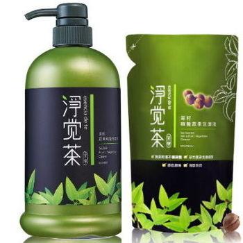 淨覺茶 茶籽蔬果碗盤洗潔液800mlx1瓶+補充包17包