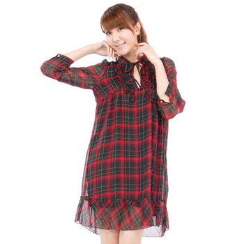 『哈衣館』日本Ray Beams  雪紡格紋長袖洋裝-綠 /紅01