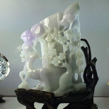 【絕世精品】森茂珠寶 緬甸天然翡翠A貨 紫羅蘭筆筒雕件 022886