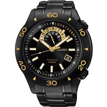 SEIKO 4R37絕地爭霸時尚機械腕錶-IP黑