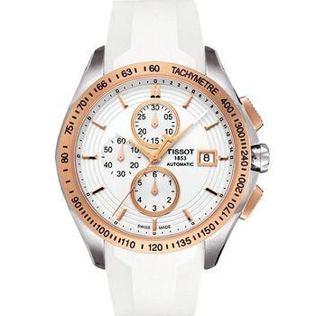 TISSOT Veloci-T 運動競速計時機械腕錶-玫塊金框