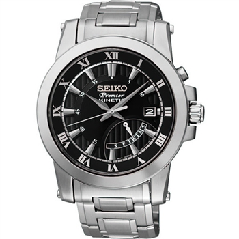 SEIKO Premier人動電能錶-黑/銀 5M84-0AA0D