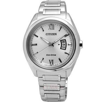 CITIZEN 光動能‧放射時尚腕錶_銀/大 AW1100-56A