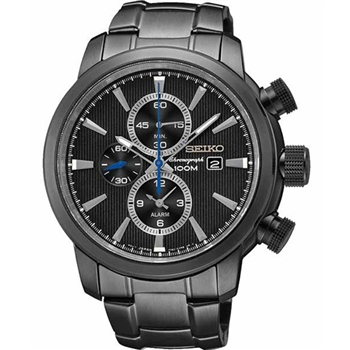 SEIKO 二地時區鬧鈴計時錶-IP黑 7T62-0LG0SD