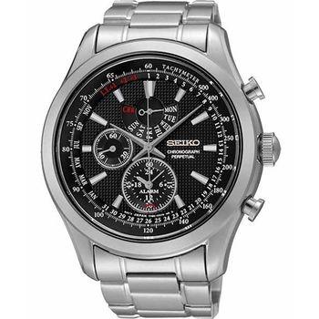 SEIKO 爭霸天下萬年曆鬧鈴計時錶-黑x銀 7T86-0AC0D