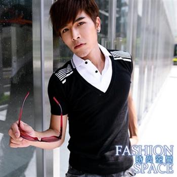 【時尚空間】條紋肩設計針織假兩件短袖T恤(灰色)【111138】