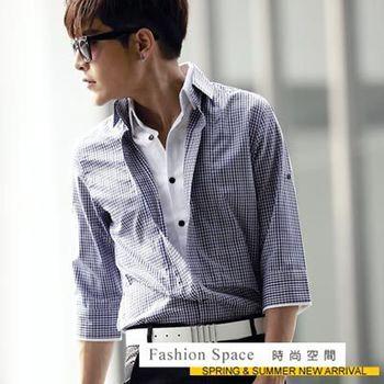 【時尚空間】日系吸睛無比單扣格紋七分袖襯衫【121310】兩色
