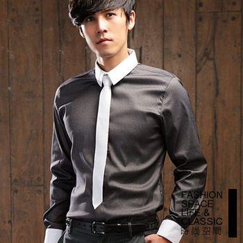 【時尚空間】都市跳色設計領極細條紋長袖襯衫【FS308】共四色
