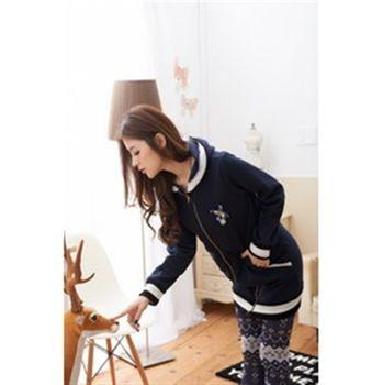 【CERES】熱賣款羅紋配色刷毛長版外套/深藍Q0969-N