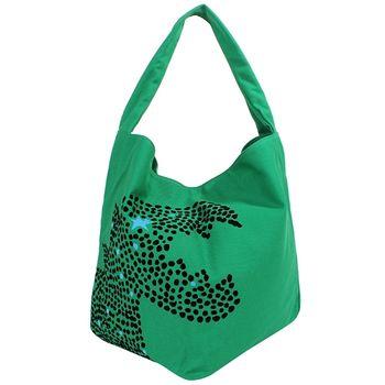 agnes b. 點點&星星絨布恐龍logo釦式帆布包(綠)